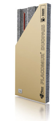 Placomur® DuoPass 3.70 - 140 | Nouveau système de doublage collé, composé de deux éléments : - une