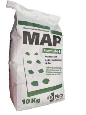 MAP® Formule + 10kg | Mortier de collage pour plaques de plâtre et tout type de doublage plaques de plâtre et isolants (Placomur® Essentiel, Doublissimo®, Placotherm® +), de scellement et de rebouchage. Temps de prise 2 heures.