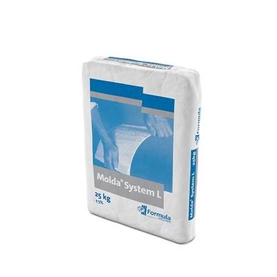 Molda® System L 25kg | Molda System L est un plâtre semi-hydrate hautes performances formulé (CaSO4.1/2H2O) produit à partir de gypse naturel haute pureté Il est de couleur blanc cassé. Conçu pour • Plâtrerie fibreuse • Structures en gypse renforcé avec des fibres de verre • Coulage général de plâtrerie décorative • Idéal pour des pièces de grande taille grâce à sa LONGUE durée de prise