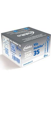 Vis Habito® 35 | Vis spéciale à double filetage et à tête large pour la fixation de plaques Habito® sur ossature Placostil®. Pour rappel Habito® est le mur qui résiste à tous les défis du quotidien : résistance aux chocs, possibilité de fixer des charges lourdes.