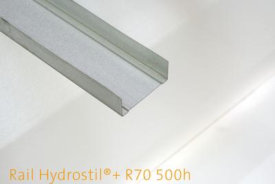 Rail Hydrostil®+ F530 500h | Rails de hauteur 70 mm pour cloisons, doublages et plafonds. Acier d'épaisseur 0,53 mm. Très haute résistance à l'humidité.