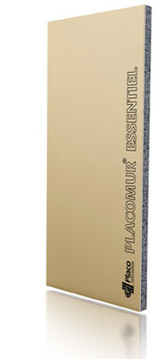 Placomur® Essentiel 1.90 10+60 | Complexe de doublage constitué d'un panneau isolant en polystyrène expansé (PSE) blanc, associé à une plaque de plâtre Placo®. Ancien libellé: Placomur® Th 38